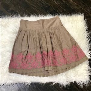Lucky Brand light brown Skirt with Pink Embroidery